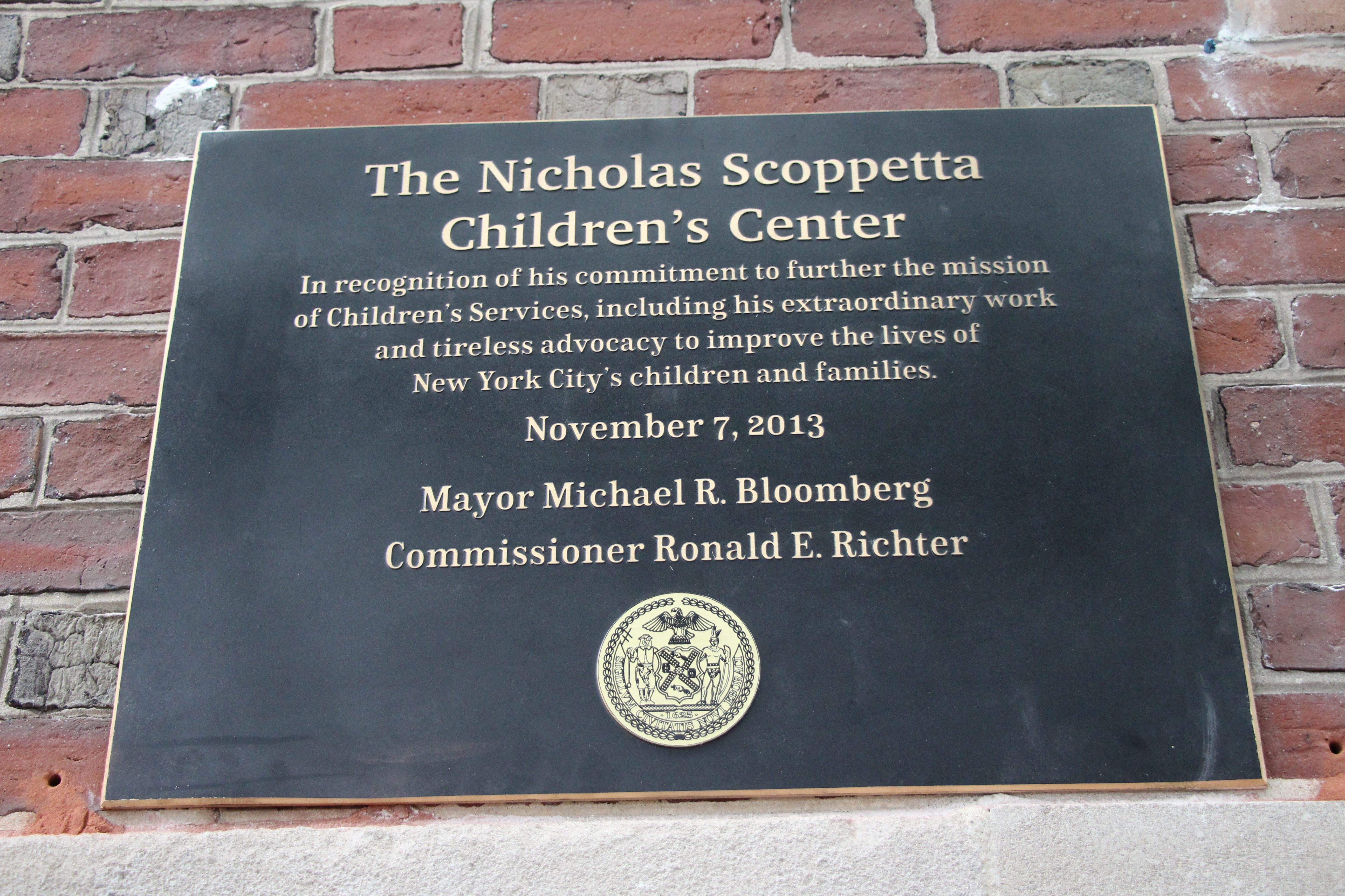Plaque honoring Commissioner Nicholas Scoppetta
