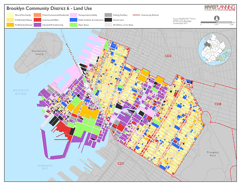 Brooklyn Community District Land Use Map separated by land use type