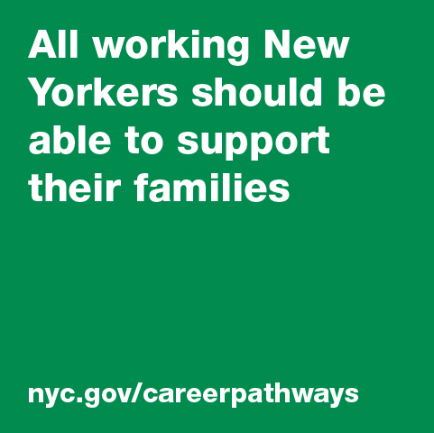"Text: ""All working New Yorkers should be able to support their families."""