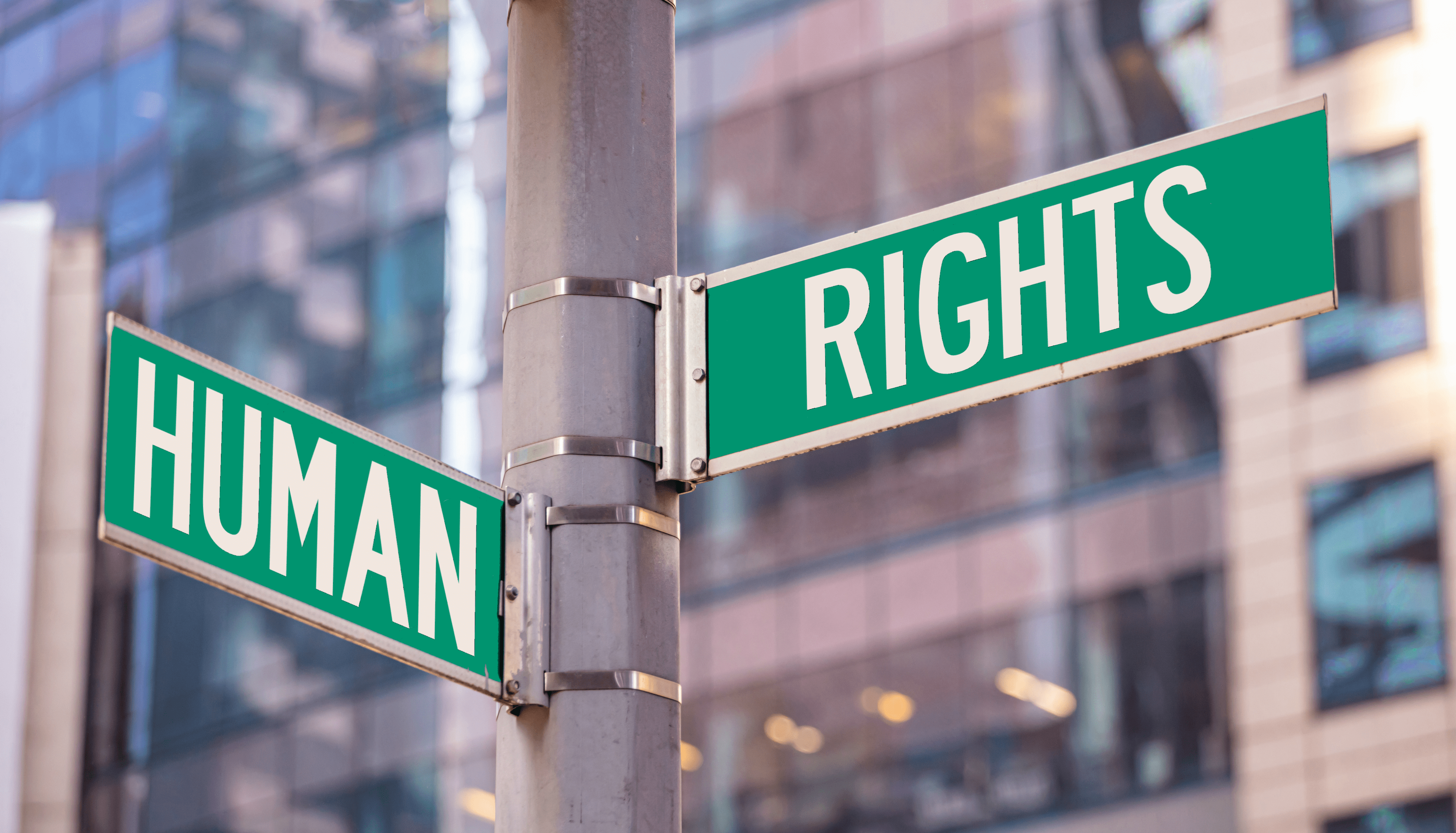 "The words ""Human"" and ""Rights"" written on NYC intersection street signs"