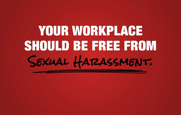 "Maroon image with text in white and black, ""Your Workplace Should Be Free From Sexual Harassment."""