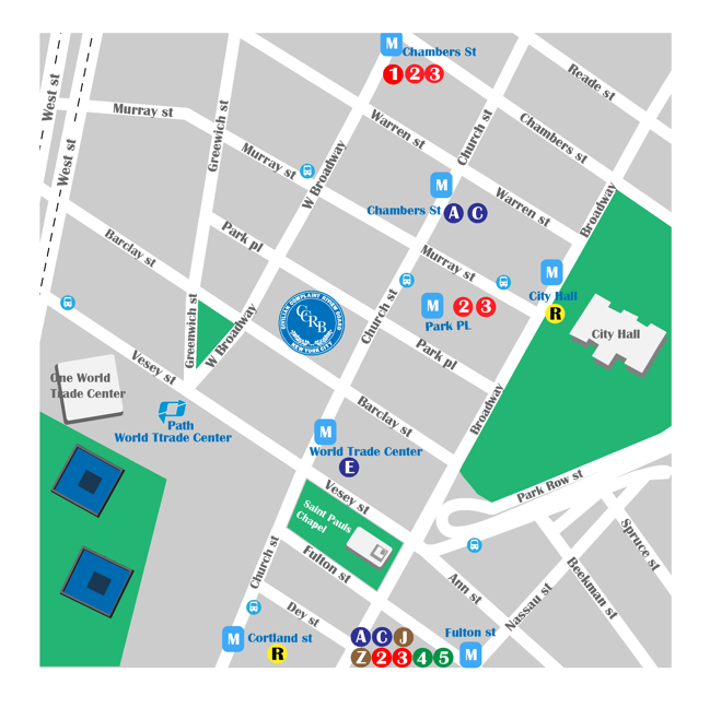 map of area around CCRB office