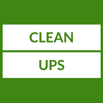 Text: Clean Ups
