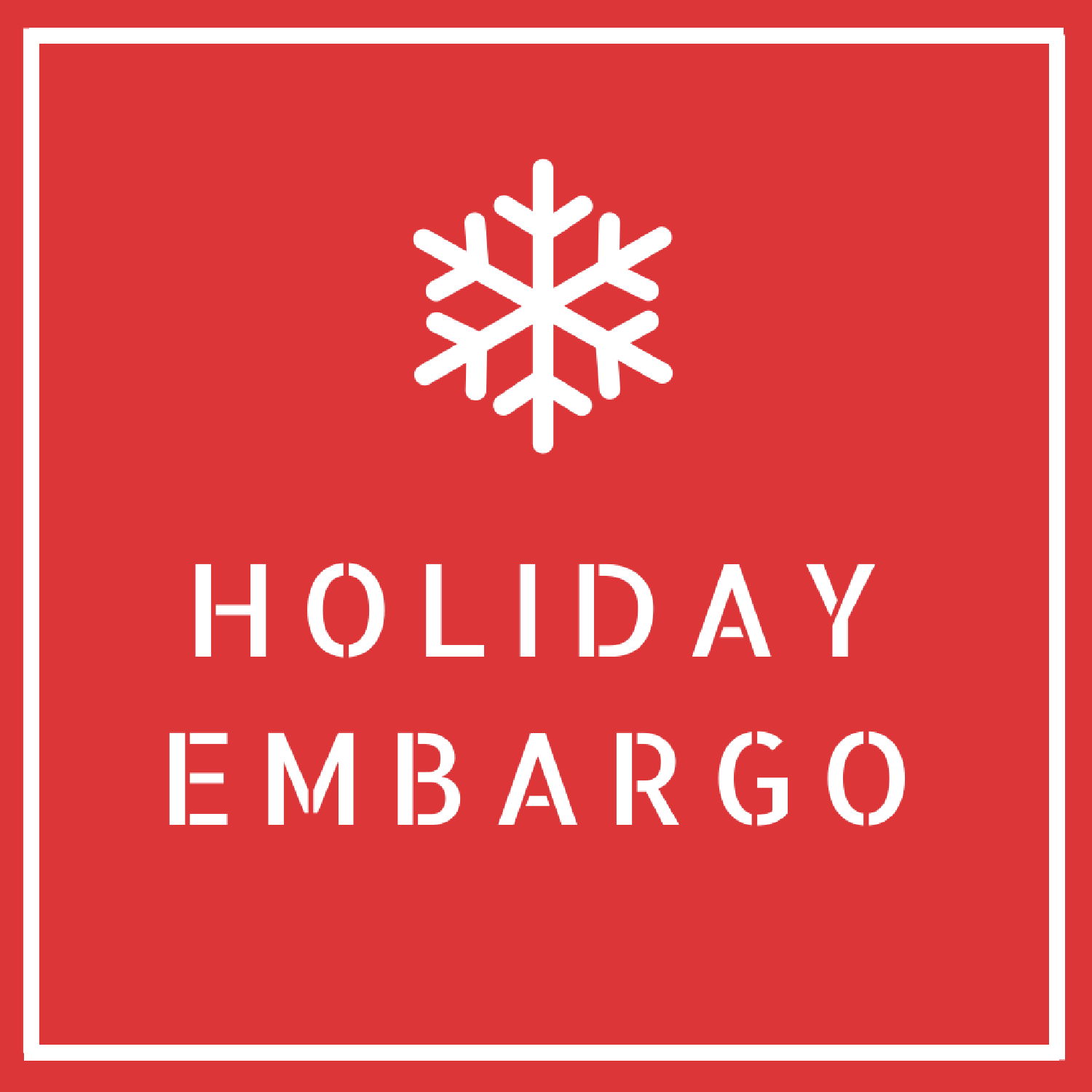 Red background with white snowflake and holiday embargo underneath