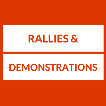 Text: Rallies and Demonstrations