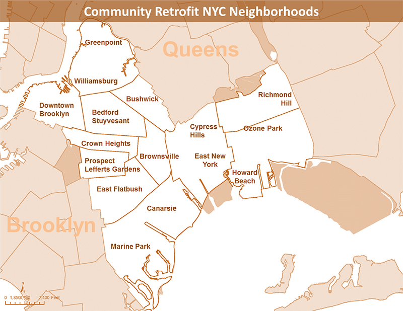map of some community retrofit nyc neighborhoods