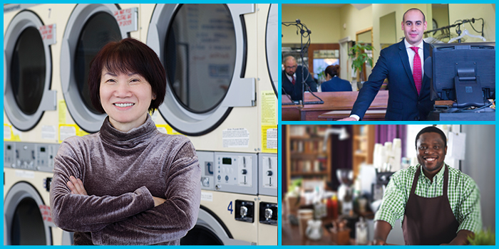 diverse photo collage of smiling small business owners