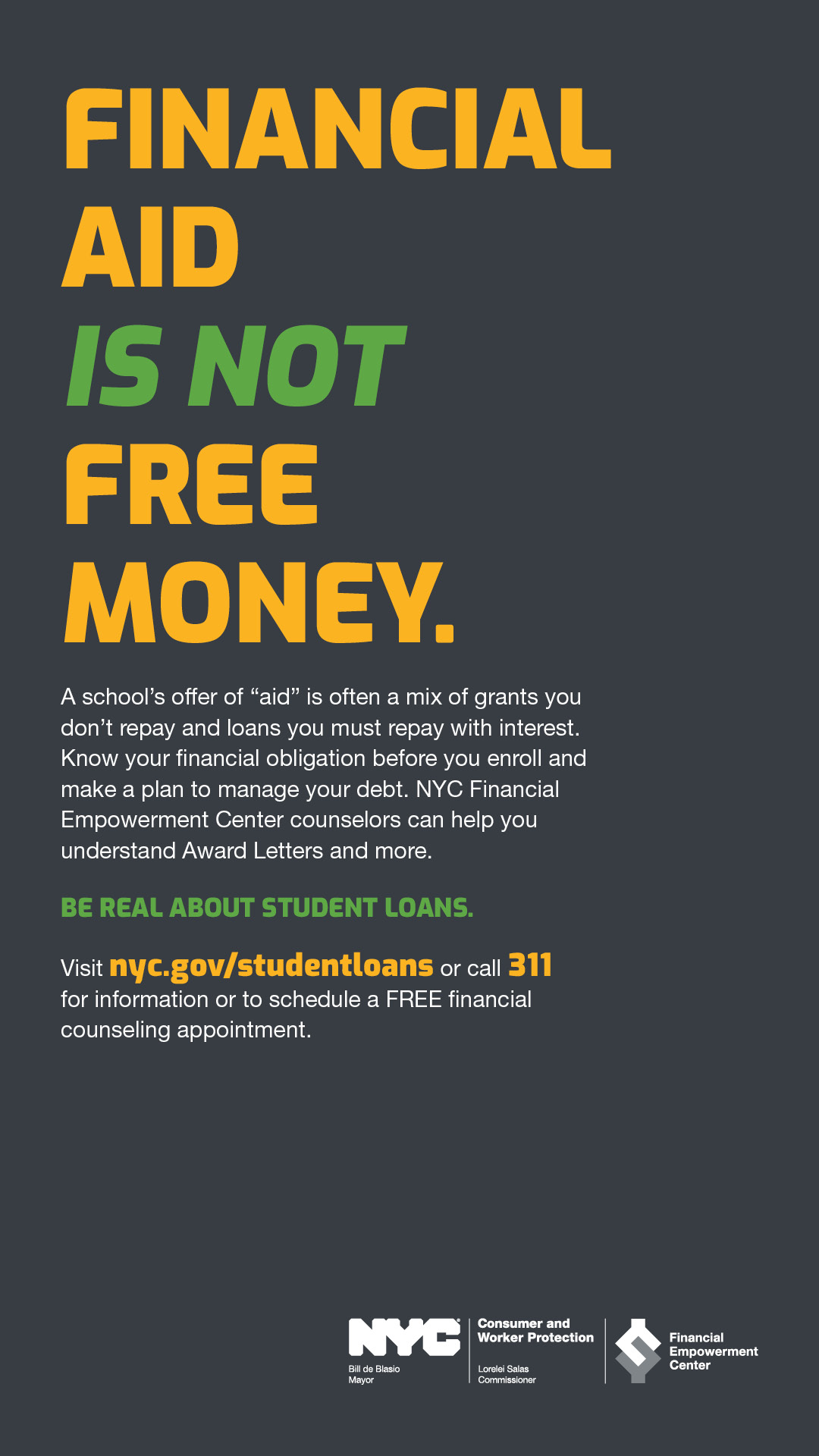 Ad with text FINANCIAL AID IS NOT FREE MONEY