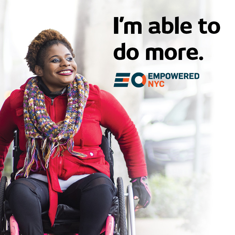Ad of woman in wheelchair smiling with text I'm able to do more.