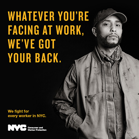 Ad for workers' rights campaign featuring a day laborer