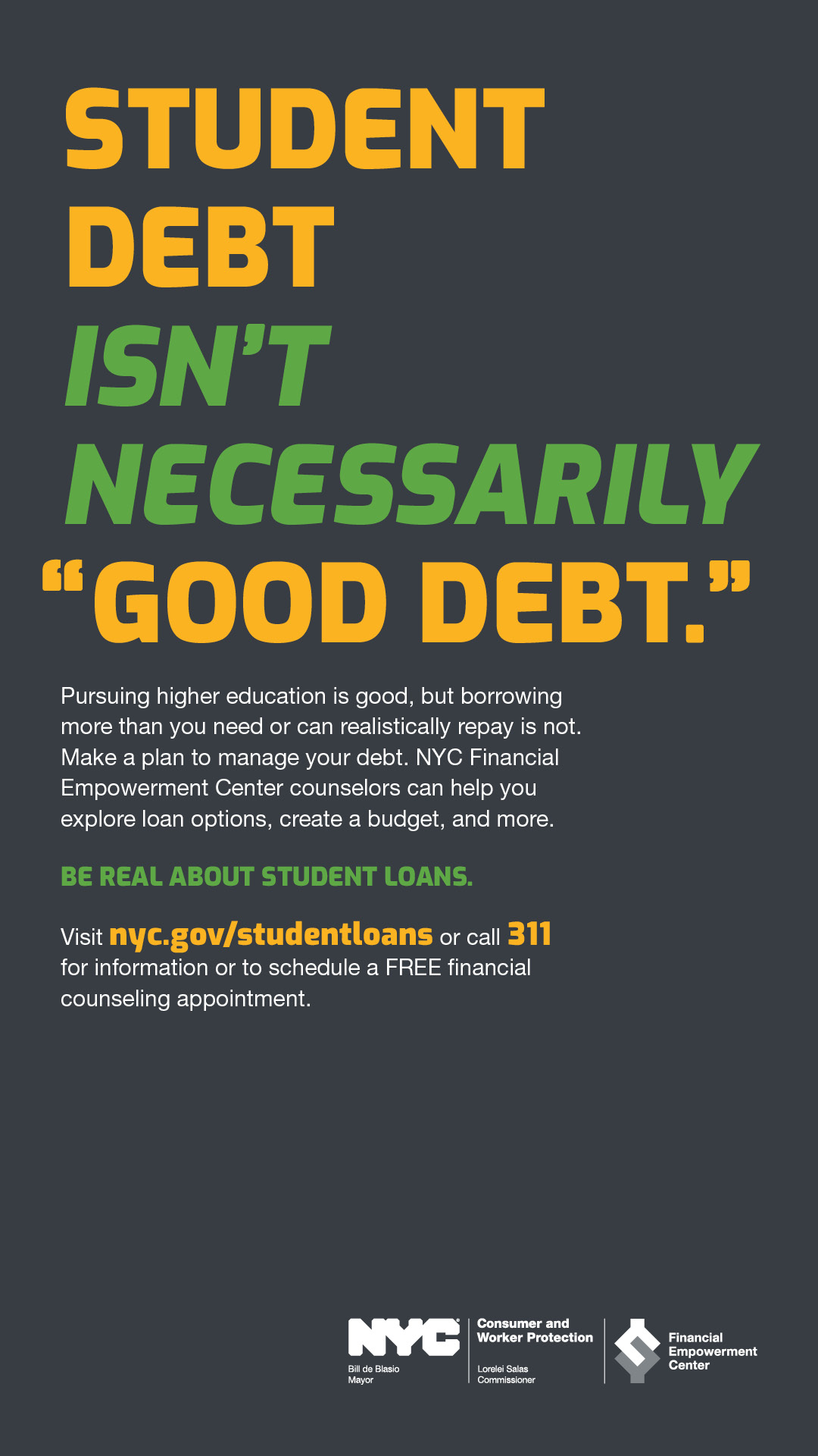 Ad with text STUDENT DEBT ISN'T NECESSARILY GOOD DEBT