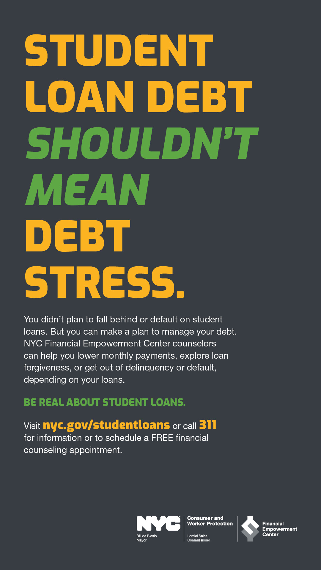 Ad with text STUDENT LOAN DEBT SHOULDN'T MEAN DEBT STRESS