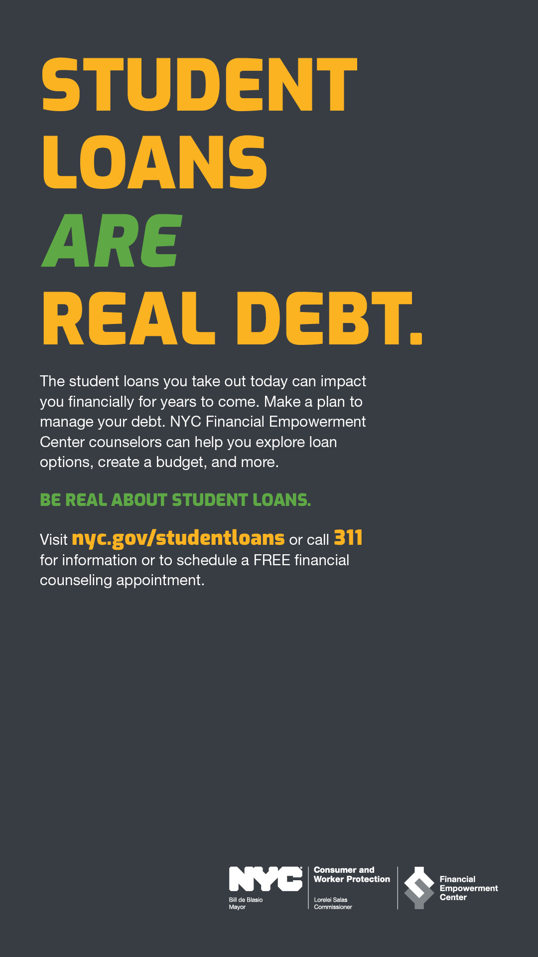 Ad with text STUDENT LOANS ARE REAL DEBT