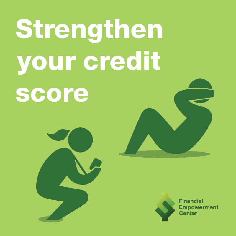 Strengthen Your Credit Score campaign ad with coach holding stopwatch while trainee does sit up crunches