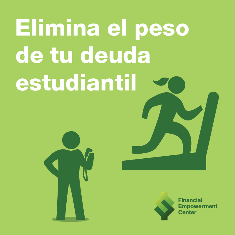 Ad campaign featuring icon of trainer watching trainee run on treadmill and tagline reads Elimina el peso de tu deuda estudiantil