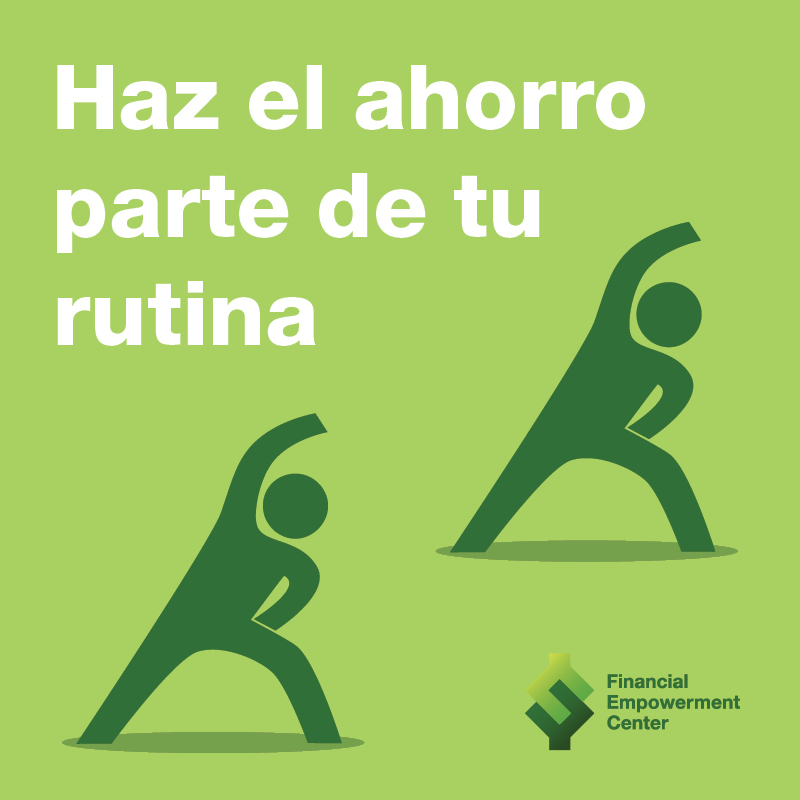 Ad campaign featuring icon of trainer and trainee doing stretches in synch with each other and tagline reads Haz el ahorro parte de tu rutina