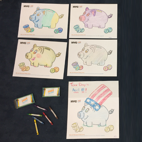 Tax Time Campaign Coloring Page of piggy banks