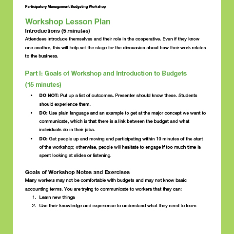 Participatory Management Budgeting Workshop