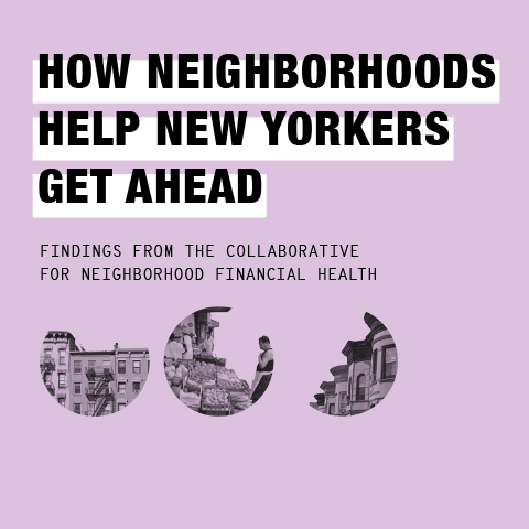 Light purple report cover for How Neighborhoods Help New Yorkers Get Ahead