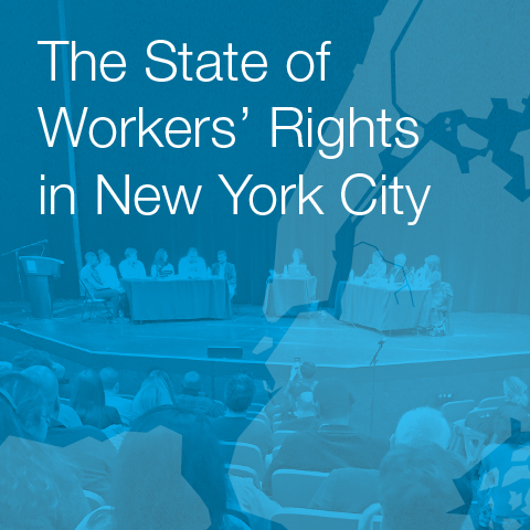 Blue report cover for The State of Workers' Rights in New York City