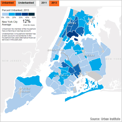 Map depicting percent of unbanked households in NYC 2013