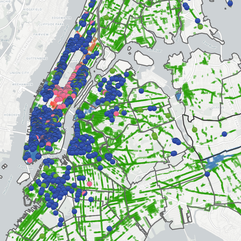 nyc map with different colored dots to represent licensed sidewalk cafes
