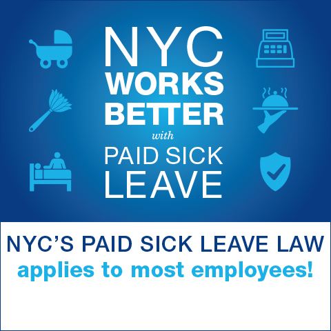 NYC Works Better with Paid Sick Leave tagline and different workplace icons