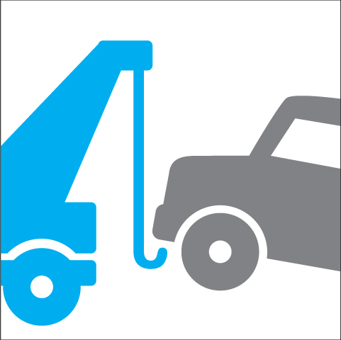 Graphic illustration of a tow truck towing a car