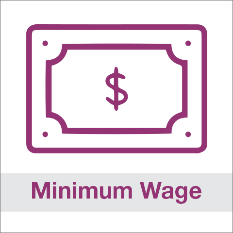 Purple dollar icon and text reading, 'Minimum Wage'