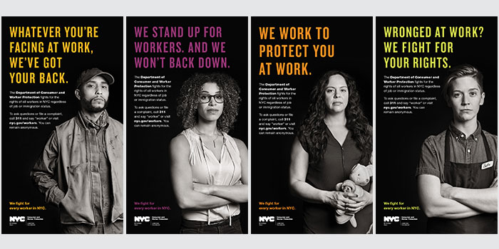 Four photo collage of dcwp campaign ads featuring some of the workers that we protect including day laborer, freelancer, domestic worker and retail/food service worker
