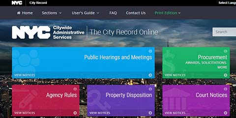 A screen shot of The City Record homepage representing the 3 modules for the City Record Online: Public Hearings & Meetings, Procurement, Agency Rules, Property Dispositions and Court Notices