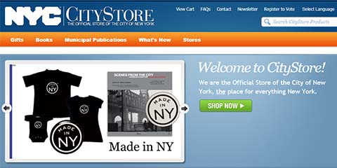 A screen shot of the Welcome screen for the CityStore and includes the entire the site button and an image that includes the Made in NY t-shirt and a book of the same name