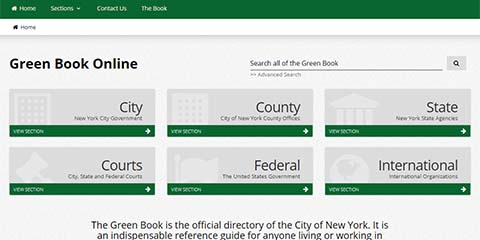 A screenshot of the Green Book Online home page the 6 sections of the book City, County, State, Courts, Federal, International