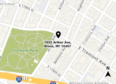 Map shows in red the location of 1932 Arthur Avenue in the Bronx and a small area of the surrounding streets
