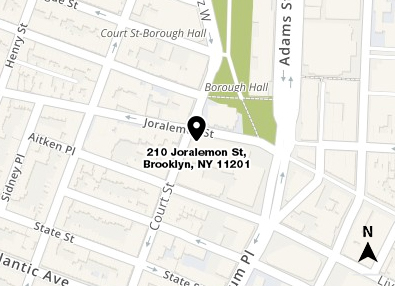 Map shows in red the location of 210 Joralemon Street in Brooklyn and a small area of the surrounding streets