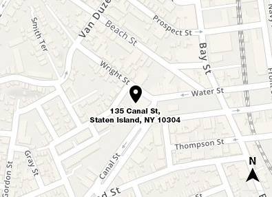 Map shows in red the location of 135 Canal Street in Staten Island and a small area of the surrounding streets