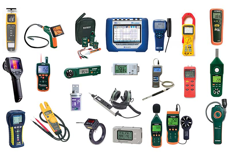 A collection of various diagnostic and measuring tools that can be borrowed at the Field Equipment Lending Library.