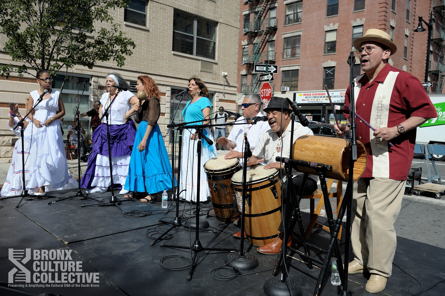 BombaYo Culture En Vivo performs at the 'WE ARE MELROSE: Harvesting Culture,' a community-wide street festival created by BxCC in partnership with Nos Quesdmos, Bronx Music Heritage Center, and YUCA Arts. (Image credit: Ed Alvarez)