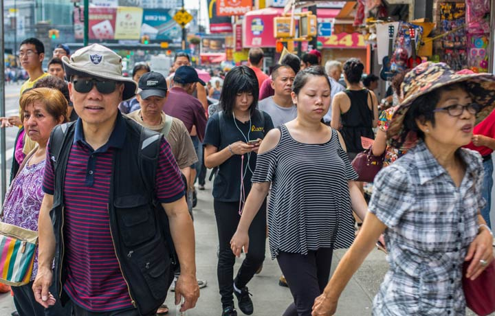 Crowds of people at main st flushing, queens
