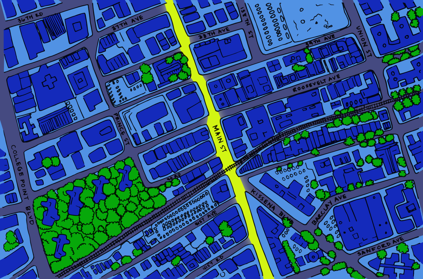 map of reconstruction of main street in Flushing, Queens