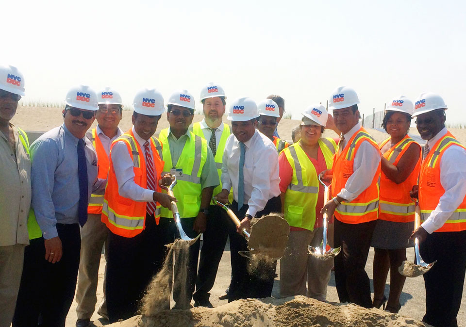 Image of DDC staff breaking ground on the Belle Harbor project.
