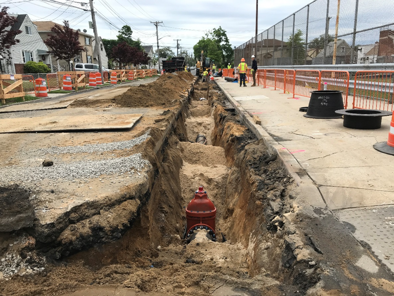 Water main replacement work on 132nd Avenue behind August Martin HS (May 2018)