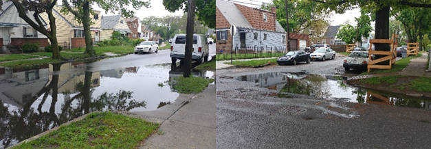 Examples of ponding in the project area following rain (May 2018)