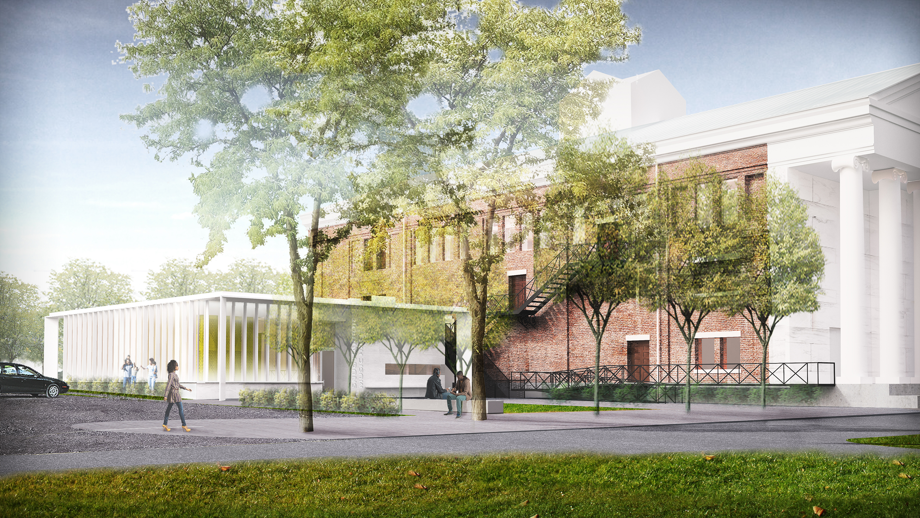 a rendering of the addition to the Snug Harbor Music Hall