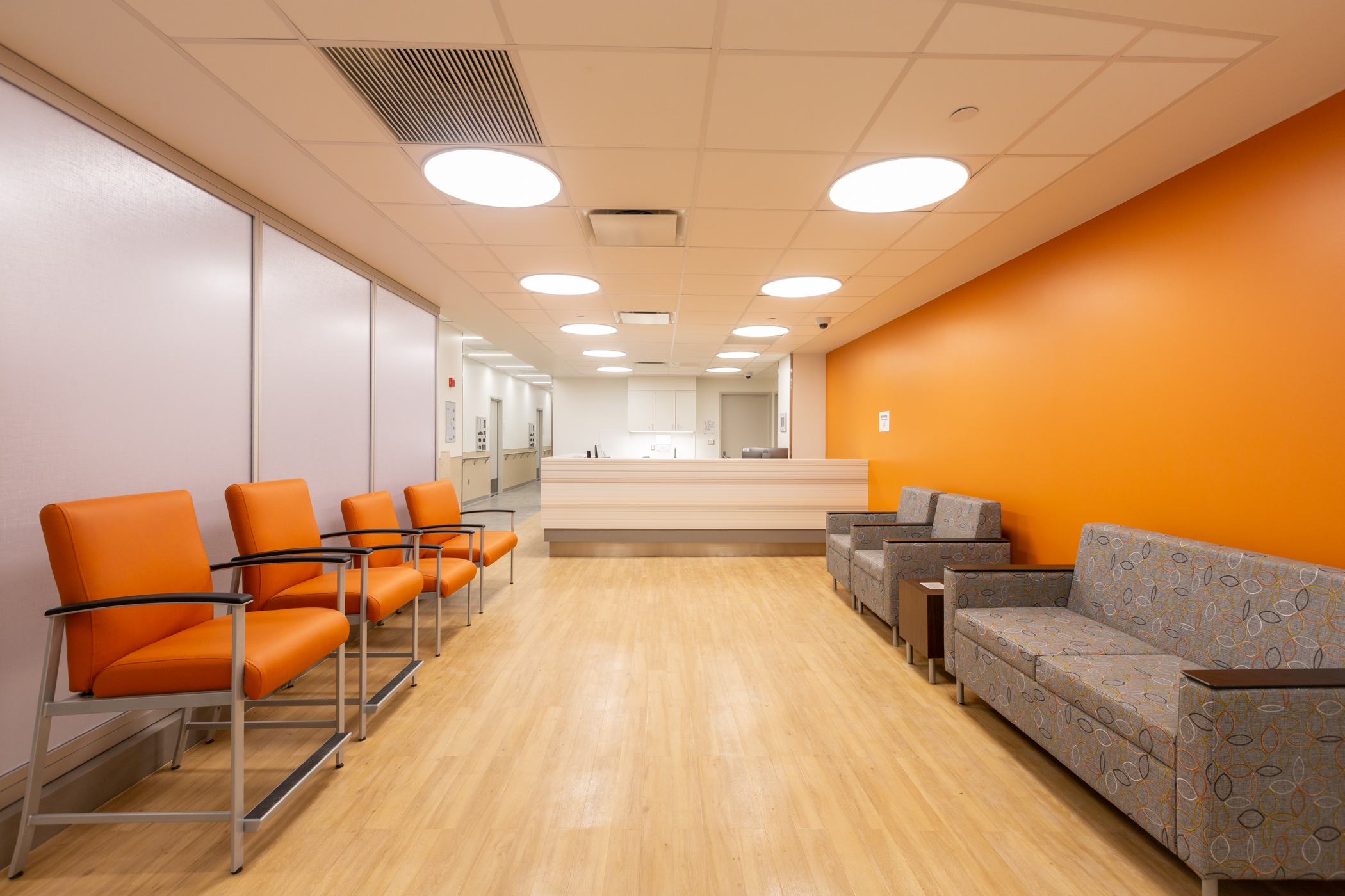 One of the waiting areas at the Bronx COVID Center of Excellence