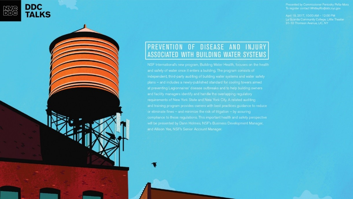 DDC Talks poster with information and illustration of a water tower