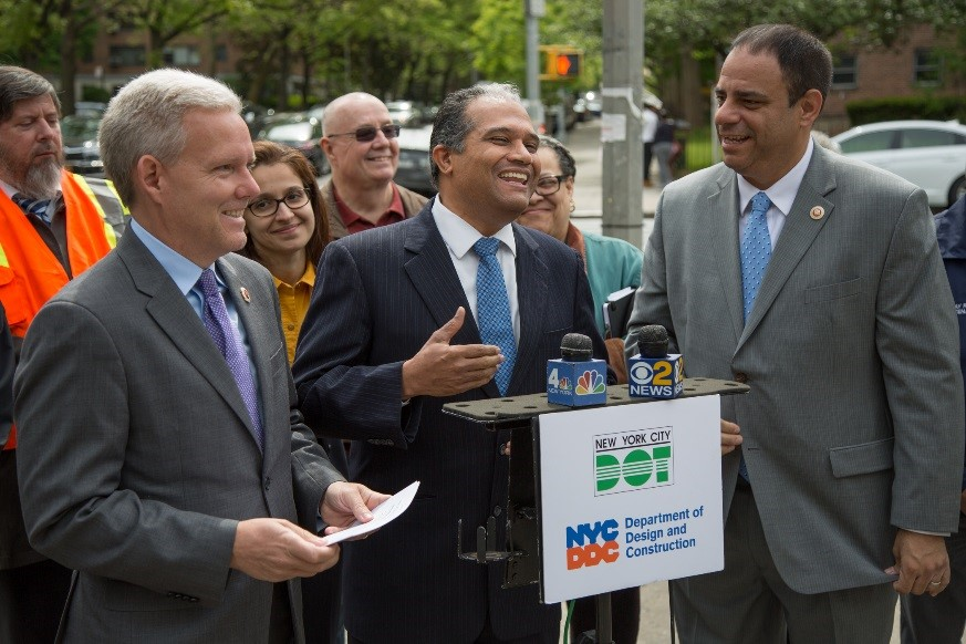 DDC Commissioner Feniosky Peña-Mora, Councilmembers Jimmy Van Bramer and Costa Constantinides