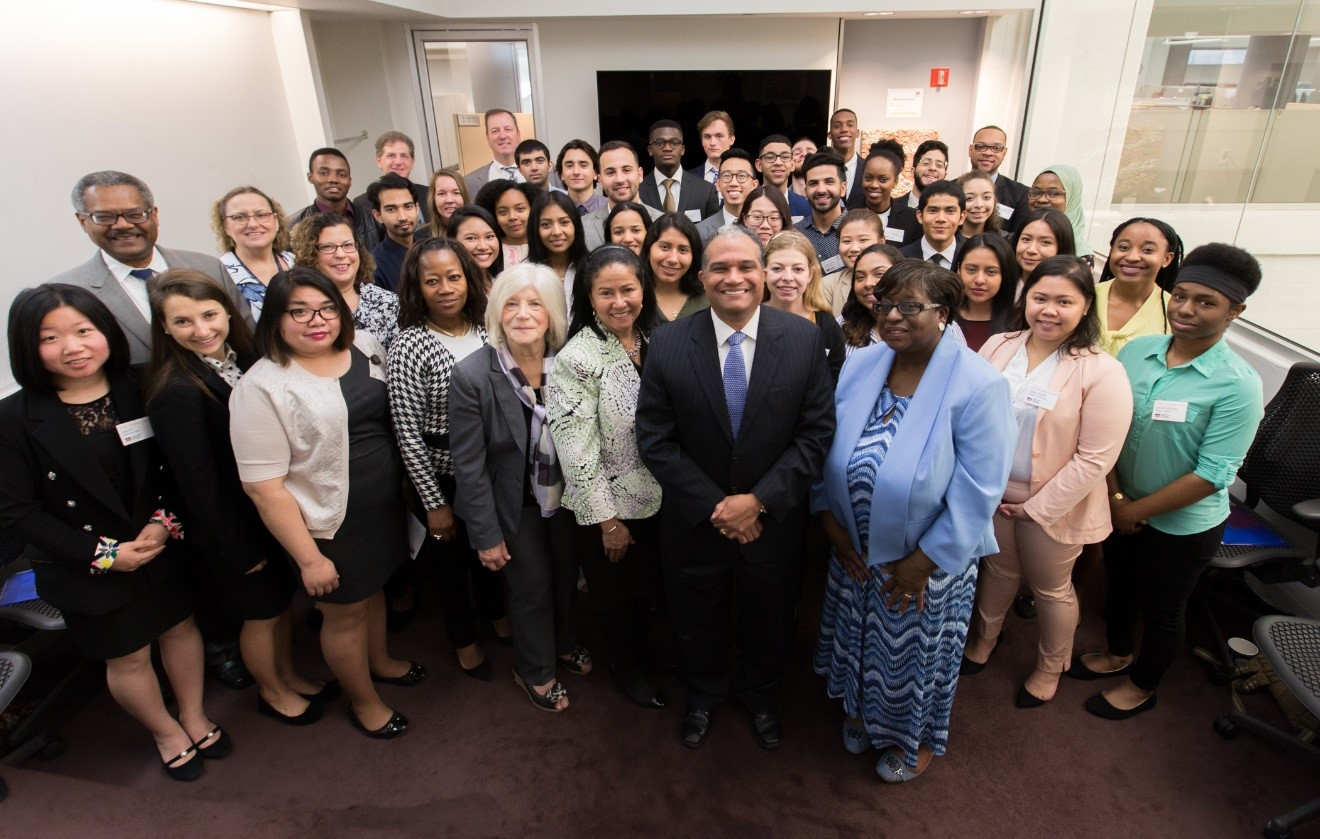 DDC Commissioner Feniosky Peña-Mora (center front) with DDC's 2017 College and Graduate Summer Interns