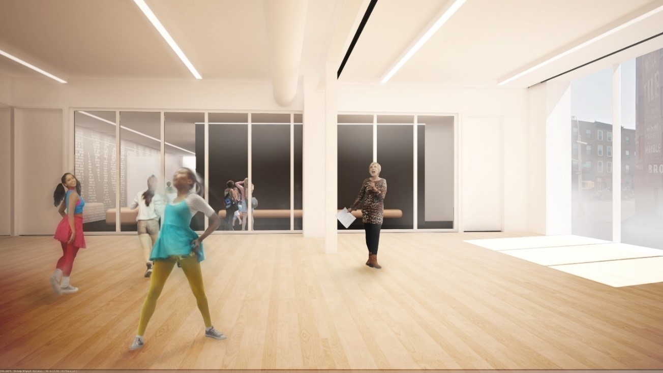 rendering of Dancewave's new studio space
