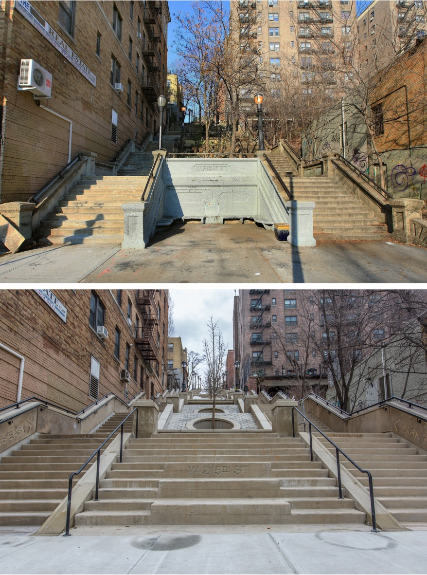 before and after look of West 215th Step Street